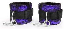 Фиолетово-черные наручники с карабинами, цвет фиолетовый/черный - Bioritm
