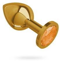 Золотистая средняя пробка с оранжевым кристаллом - 8,5 см, цвет золотой/оранжевый - МиФ