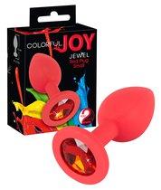 Анальная пробка с красным кристаллом Colorful Joy красная - ORION