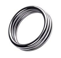 Металлическое эрекционное кольцо с рёбрышками размера M - Toyfa