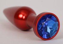Большая красная анальная пробка с синим стразом - 11,2 см. - 4sexdreaM