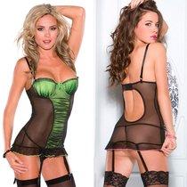 Корсаж Jenna с лифом push-up с трусиками, цвет зеленый/черный, M - Coquette Internatonal