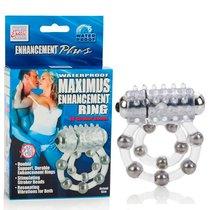 Эрекционное кольцо с массажными шариками и мини вибратором, цвет прозрачный - California Exotic Novelties