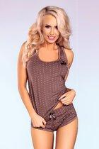 Хлопковая пижамка в горошек, цвет коричневый, размер S-M - Livia Corsetti