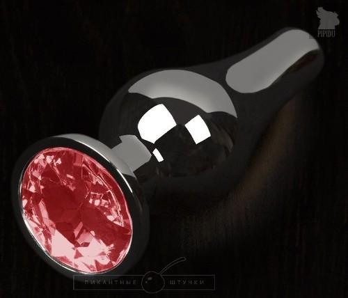 Графитовая удлиненная анальная пробка с красным кристаллом - 12 см., цвет красный - Пикантные штучки