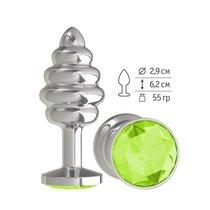 Анальная втулка Silver Spiral с салатовым кристаллом, цвет серебряный - МиФ