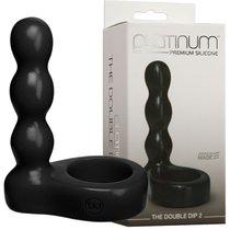 Черный анальный стимулятор с силиконовым кольцом Platinum Premium Silicone - The Double Dip 2 - Black, цвет черный - Doc Johnson