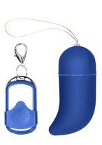 Синее виброяйцо Medium Wireless Vibrating G-Spot Egg с пультом - 7,5 см., цвет синий - Shots Media
