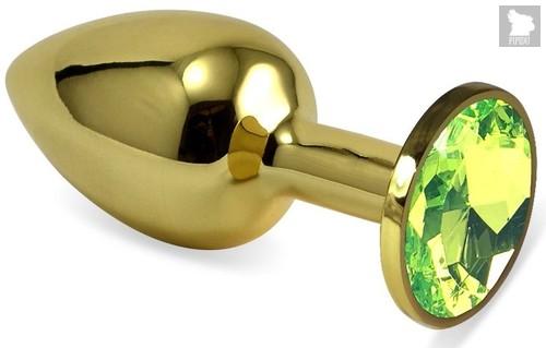 Золотистая коническая анальная пробка с лаймовым кристаллом - 8,5 см., цвет лайм - Vandersex