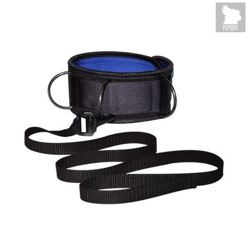 Чёрно-синий неопреновый ошейник с поводком, цвет синий/черный - Sitabella