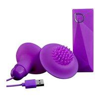 Фиолетовые вибростимуляторы с щёточками для стимуляции клитора и сосков, цвет фиолетовый - Abia