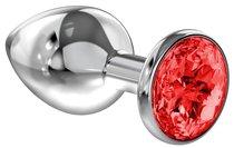 Большая серебристая анальная пробка Diamond Red Sparkle Large с красным кристаллом - 8 см - Lola Toys