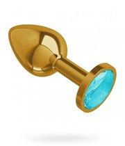 Золотистая анальная пробка с голубым кристаллом - 7 см, цвет голубой/золотой - МиФ