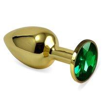 Анальная пробка Metal Gold 2,8 с кристаллом, цвет зеленый - Luxurious Tail
