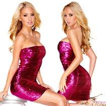 Платье-бандо The Sparkling Queen с пайетками, цвет розовый, L - Hustler Lingerie