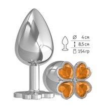 Большая анальная втулка Silver Клевер с оранжевым кристаллом, цвет серебряный - МиФ