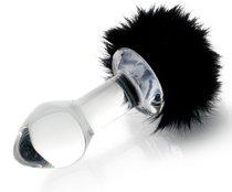 Стеклянная анальная пробка с черным хвостиком - 9,5 см - Sexus