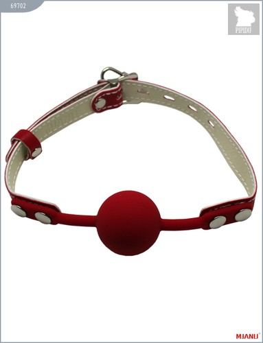 Кляп с фиксацией, красный, силикон, кожа, 69702 - Mjanu