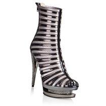 Ботильоны Wet Look, с каблуком в стразах, цвет серый - Hustler Shoes