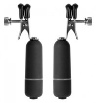 Чёрные клипсы на соски с вибрацией, цвет черный - Shots Media