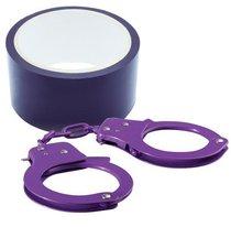 Набор для фиксации BONDX METAL CUFFS AND RIBBON: фиолетовые наручники из листового материала и липкая лента, цвет фиолетовый - Dream toys