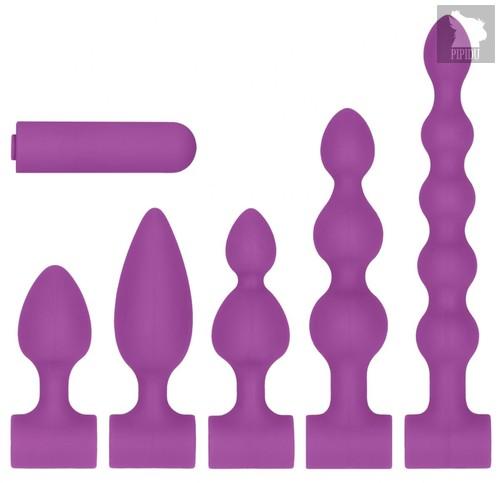 Фиолетовый анальный вибронабор USB-Rechargeable Anal Set, цвет фиолетовый - Shots Media