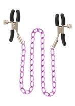 Зажимы для сосков Nipple Chain Metal на фиолетовой цепочке, цвет фиолетовый - Toy Joy