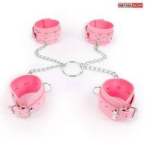 Комплект розовых наручников и оков на металлических креплениях с кольцом, цвет розовый - Bioritm