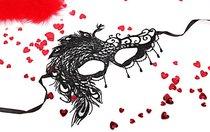 Черная ажурная текстильная маска Милена, цвет черный - Bioritm