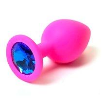 Анальная пробка Silicone Board Pink 3.5 с кристаллом, цвет розовый - Luxurious Tail