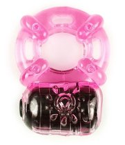 Розовое эрекционное кольцо c вибропулей, цвет розовый - Brazzers
