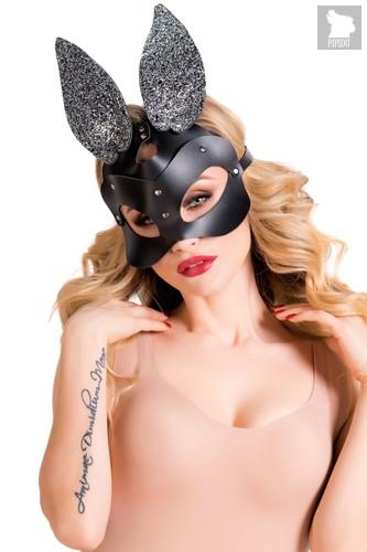 Черная кожаная маска с ушками Bonny, цвет черный - Toyfa