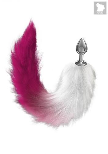 Серебристая анальная пробка с розовым хвостом Starlit, цвет розовый - Lola Toys