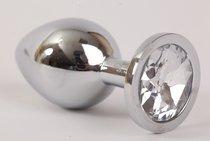 Анальная пробка серебряная с прозрачным кристаллом M 3,4х8,2 47064-1-MM - Eroticon