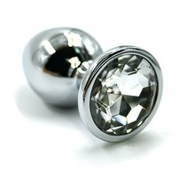Анальная пробка со стразом Aluminium Silver - Large, цвет серебряный/прозрачный - Kanikule