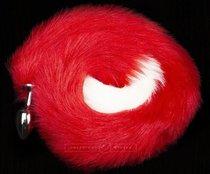 Серебристая анальная пробка с длинным красным хвостом, цвет красный - Пикантные штучки