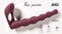 Бордовая вибронасадка для двойного проникновения Farnell - 17 см., цвет бордовый - Lola Toys