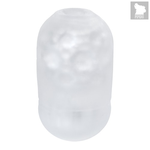 Японский мастурбатор Capsule Attack прозрачный со складками и точками, цвет белый - Men's max
