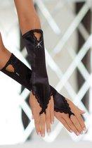 Перчатки-митенки удлиненные, цвет черный, S-M - SoftLine Collection (SLC)