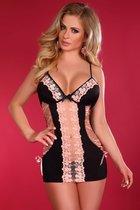 Сорочка Maddi с трусиками, цвет розовый/черный, размер S-M - Livia Corsetti