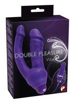 Фиолетовый анально-вагинальный вибратор с выносным блоком управления - 16 см - ORION