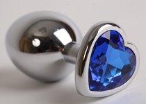 Пробка металлическая 8х3,5см с сердечком синий страз 47105-1-MM - Luxurious Tail
