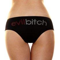 Трусики-слип с надписью стразами Evil bitch, цвет черный, S-M - Hustler Lingerie