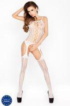 Эластичный костюм-сетка в тонкую полоску, цвет белый, OS - Passion