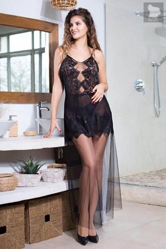 Длинное платье Ruby с кружевным лифом, цвет черный, S - Mia-Mia