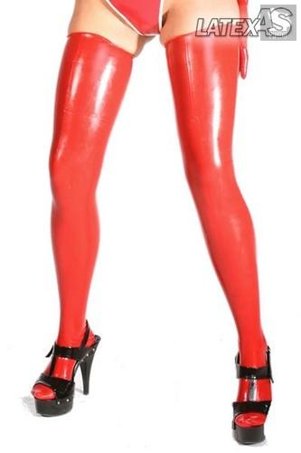 Красные латексные чулочки, цвет красный, S - Latexas