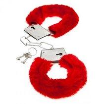 Красные меховые наручники Love с ключиками, цвет красный - Baile
