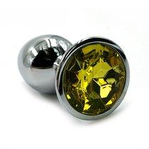 Серебристая алюминиевая анальная пробка с желтым кристаллом - 6 см., цвет светло-желтый/серебряный - Kanikule