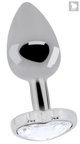 Серебристая анальная пробка с прозрачным кристаллом в форме сердца - 8,2 см., цвет прозрачный - Shots Media