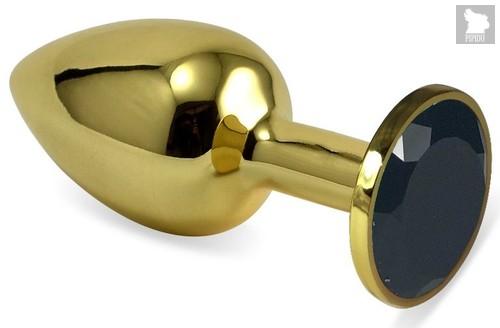 Золотистая анальная пробка с черным кристаллом - 5,5 см., цвет черный - Vandersex